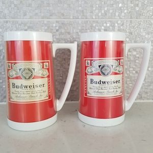 Vtg Budweiser Set of 2 Thermo-Serv Plastic Mugs